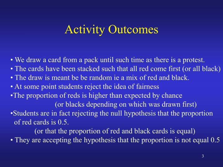 Activity outcomes