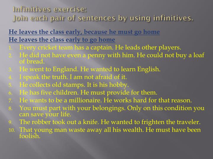 Infinitives exercise: