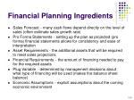 financial planning ingredients