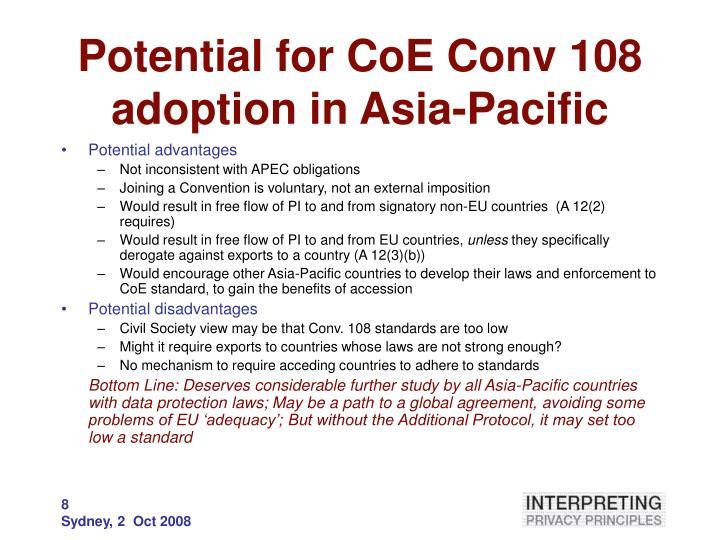 Potential for CoE Conv 108 adoption in Asia-Pacific