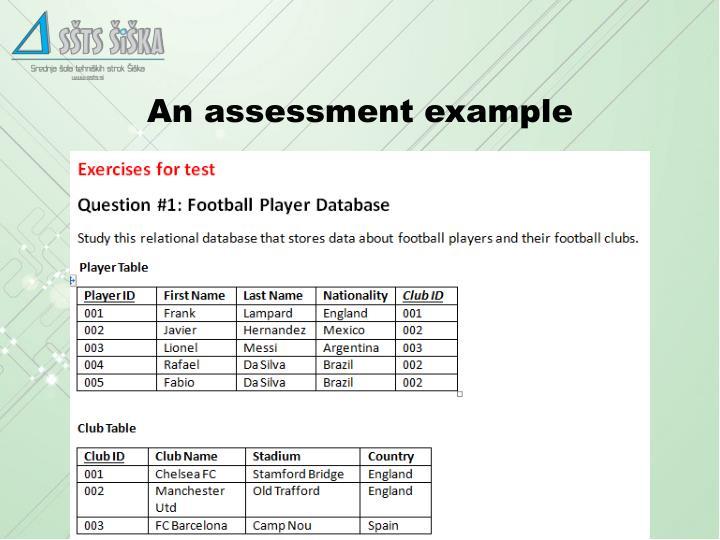 An assessment example