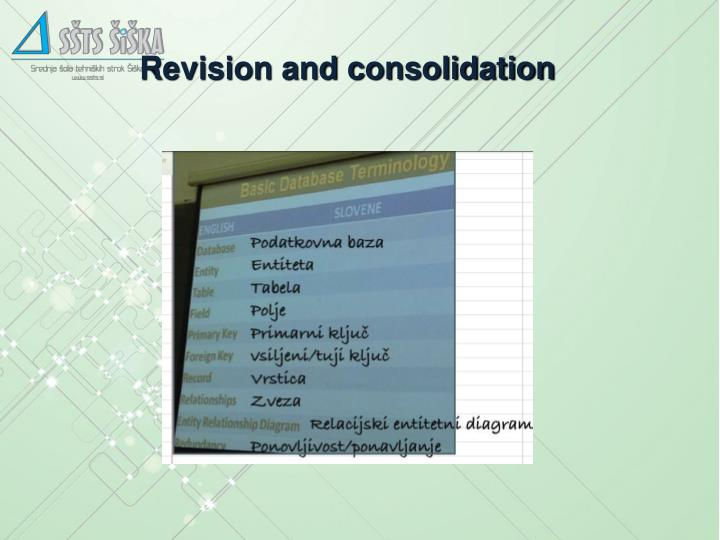 Revision and consolidation