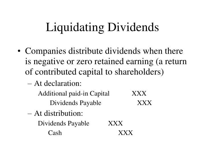 Liquidating dividends journal entry