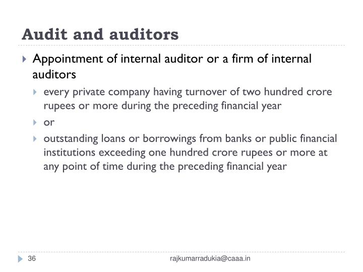 Audit and auditors
