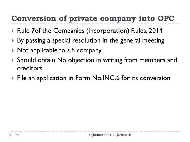 Conversion of private company into OPC
