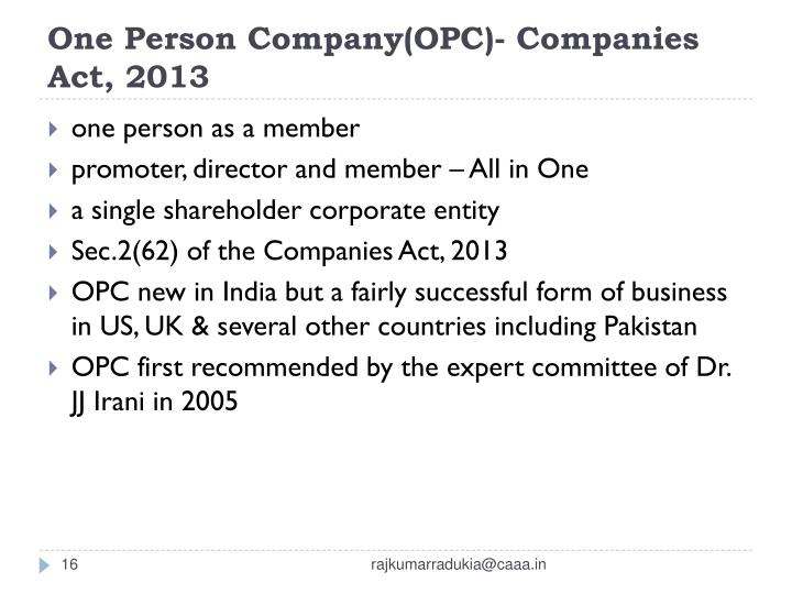 One Person Company(OPC)- Companies Act, 2013
