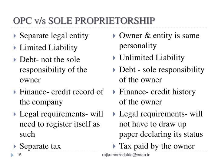 OPC v/s SOLE PROPRIETORSHIP