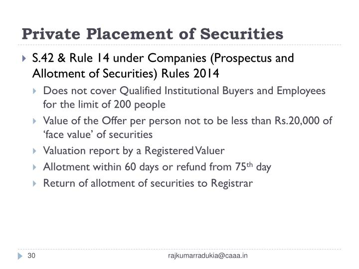 Private Placement of Securities