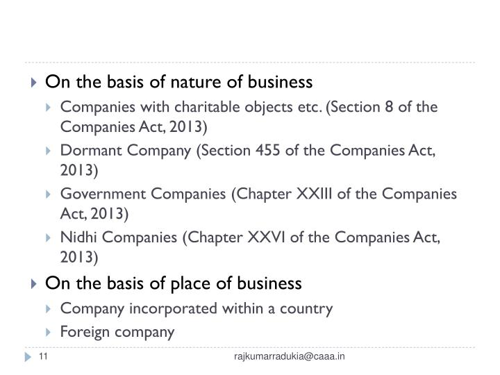 On the basis of nature of business