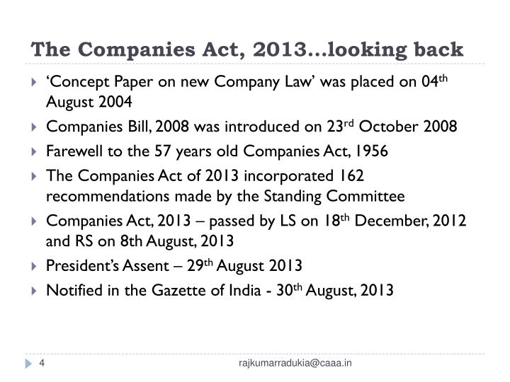 The Companies Act, 2013…looking back