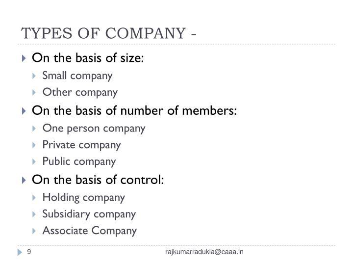 TYPES OF COMPANY -