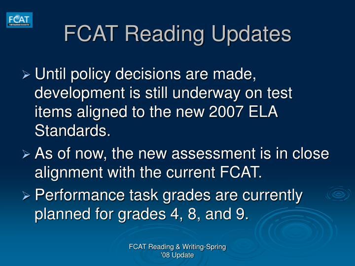 FCAT Reading Updates