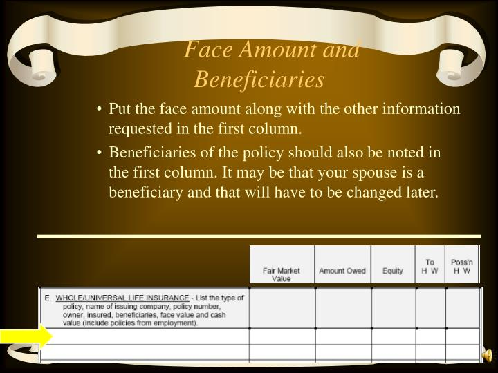 Face Amount and Beneficiaries