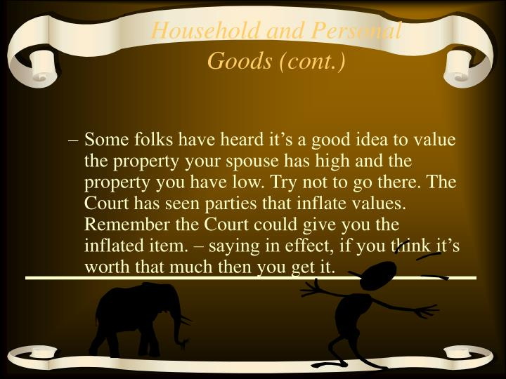 Household and Personal Goods (cont.)