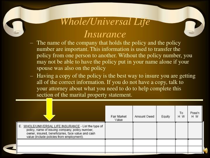 Whole/Universal Life Insurance