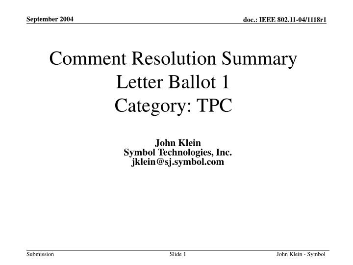 comment resolution summary letter ballot 1 category tpc n.