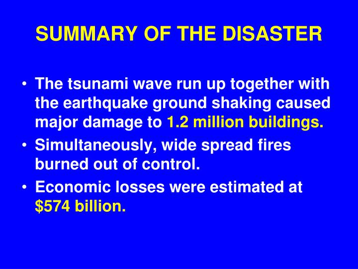 SUMMARY OF THE DISASTER