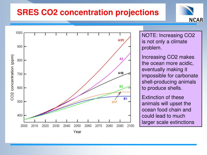 SRES CO2 concentration projections