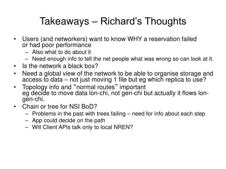 Takeaways – Richard's Thoughts
