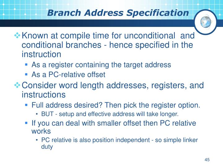 Branch Address Specification