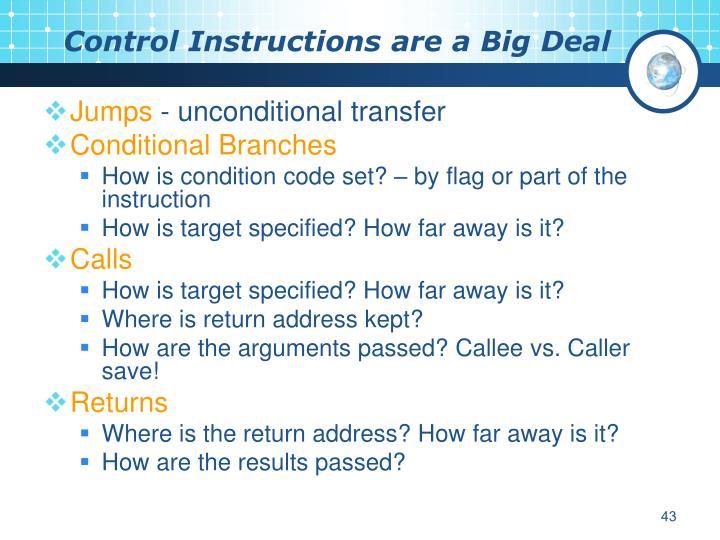 Control Instructions are a Big Deal
