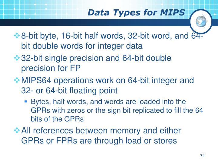 Data Types for MIPS