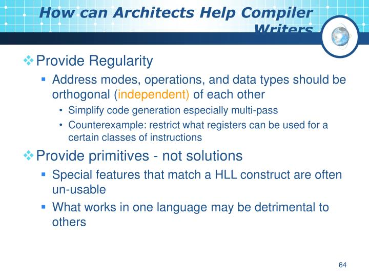 How can Architects Help Compiler Writers