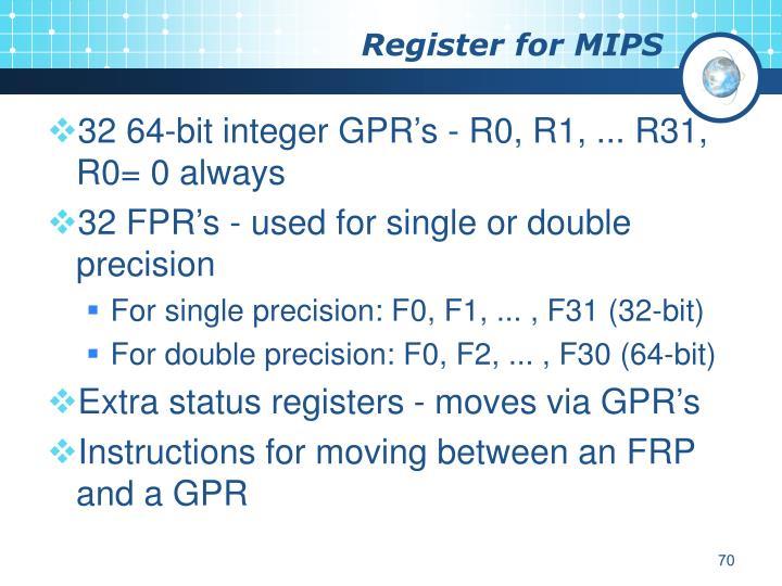Register for MIPS