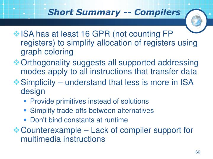 Short Summary -- Compilers