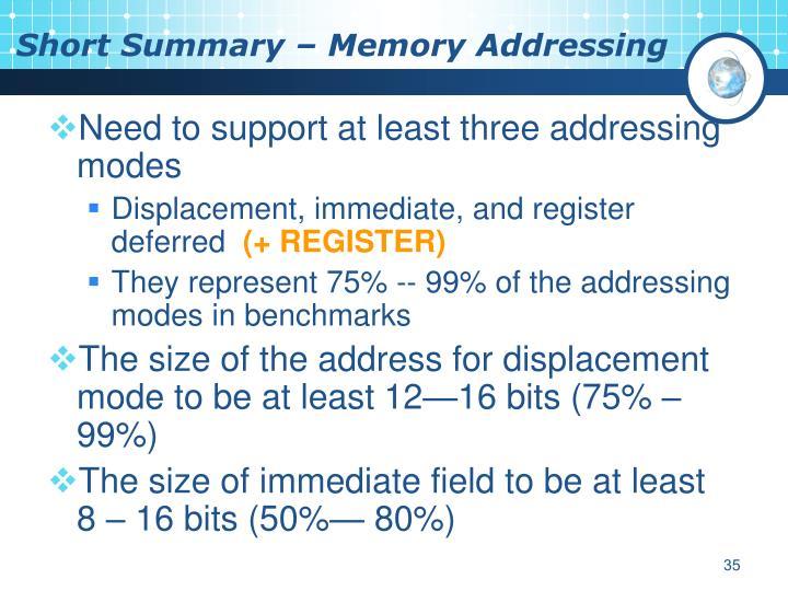 Short Summary – Memory Addressing
