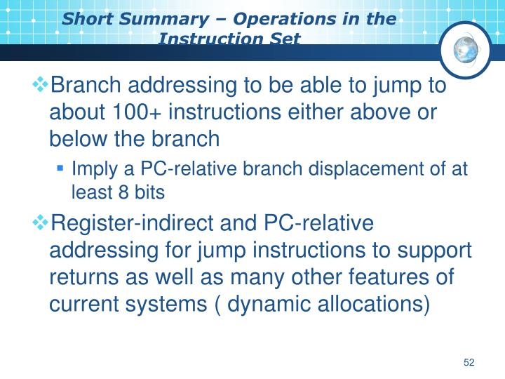 Short Summary – Operations in the Instruction Set