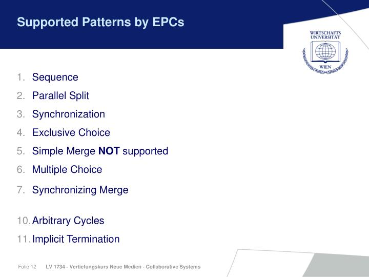 Supported Patterns by EPCs