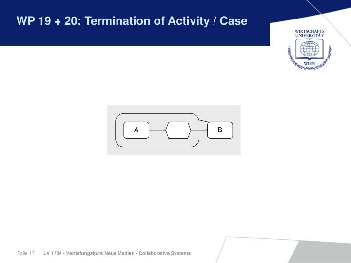 WP 19 + 20: Termination of Activity / Case