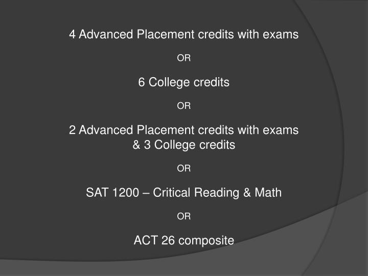 4 Advanced Placement credits with exams