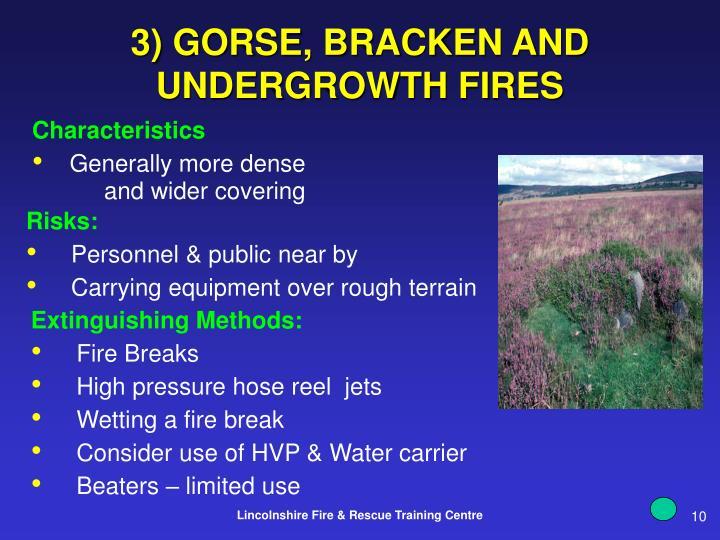 3) GORSE, BRACKEN AND UNDERGROWTH FIRES