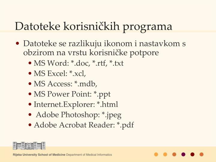 Datoteke korisničkih programa