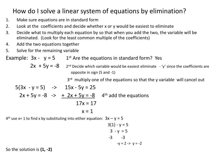 Ppt What Is A Linear System Of Equations Powerpoint Presentation