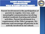 parent involvement opportunities what is parent involvement