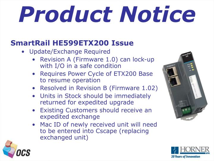 Product Notice