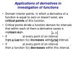 applications of derivatives in investigation of functions