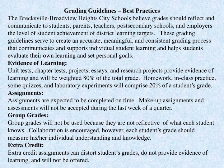 Grading Guidelines – Best Practices