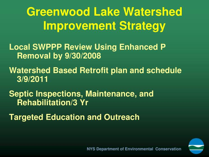 Greenwood Lake Watershed Improvement Strategy