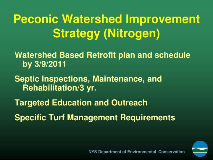 Peconic Watershed Improvement Strategy (Nitrogen)