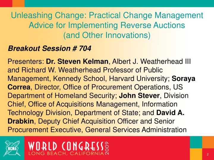 Unleashing Change: Practical Change Management Advice for Implementing Reverse Auctions