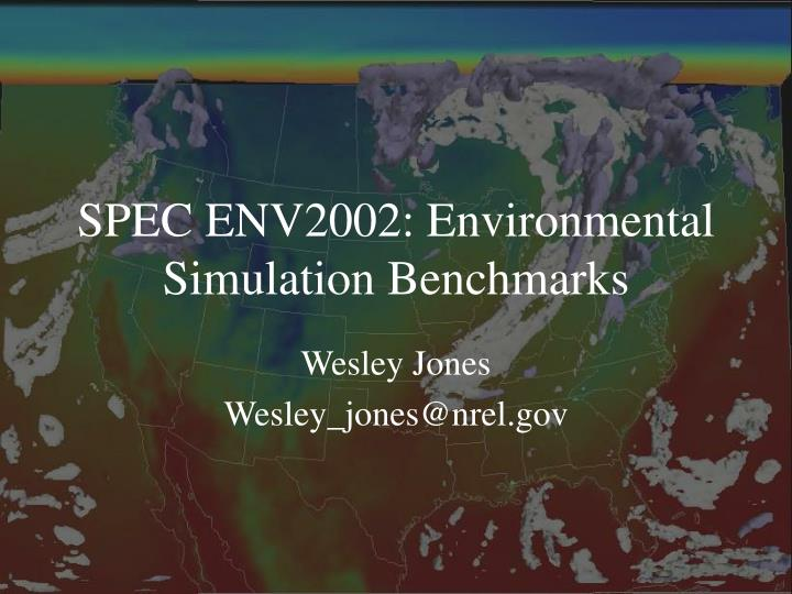 spec env2002 environmental simulation benchmarks