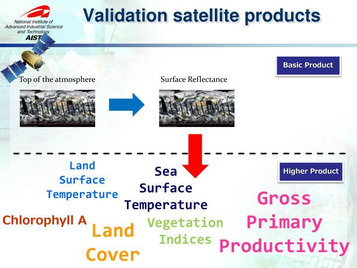 Validation satellite products