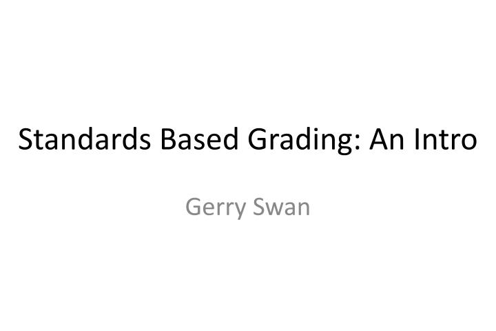 standards based grading an intro n.