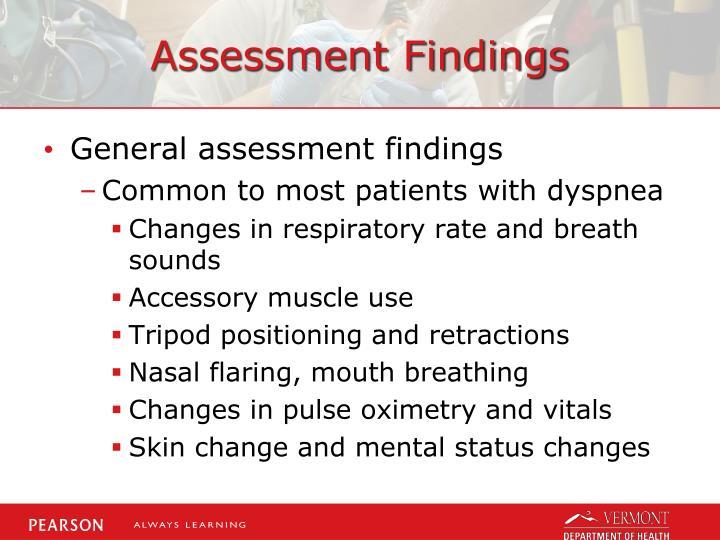 Assessment Findings