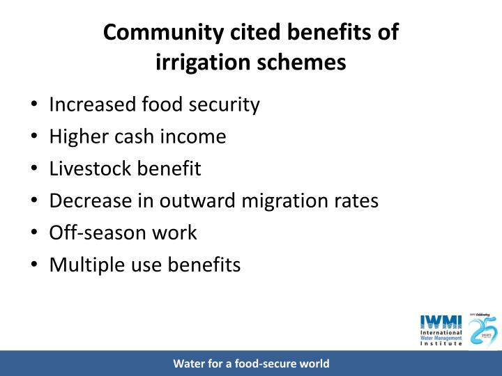 Community cited benefits of
