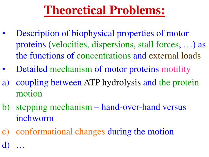 Theoretical Problems: